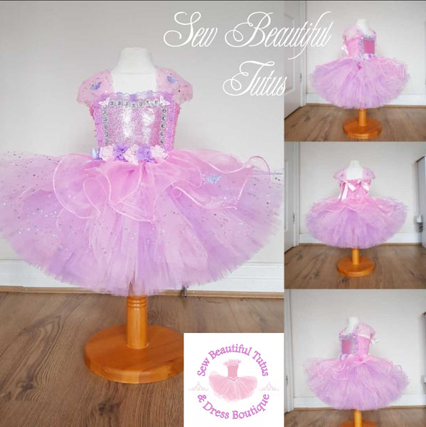 Pink Fairy inspired Sparkle Tutu Dress with organza overlay