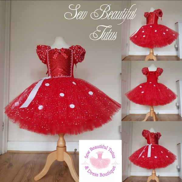 Red Polka inspired Sparkle Tutu Dress