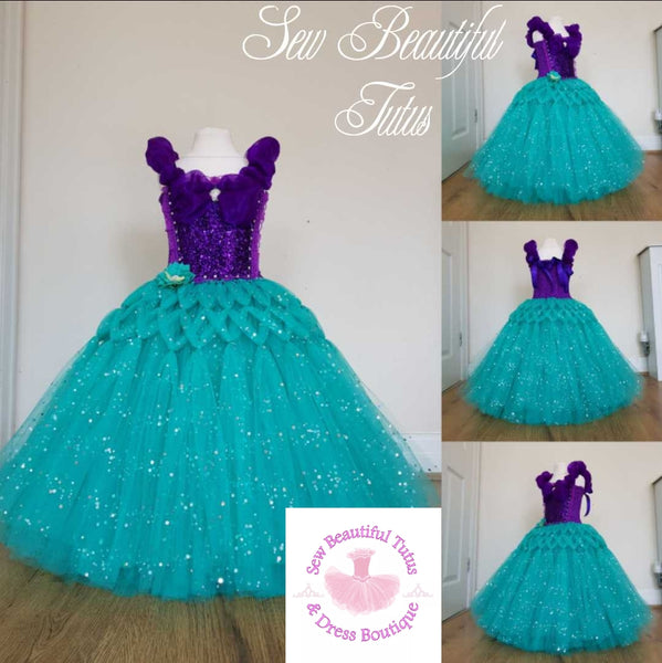 Available Now - Mermaid inspired sparkle ballgown (purple/teal) Age 3-4yrs