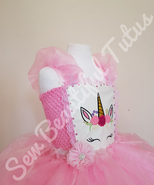 Available Now - Pink Unicorn Tutu Dress with Organza Over Skirt Age 4-5yrs