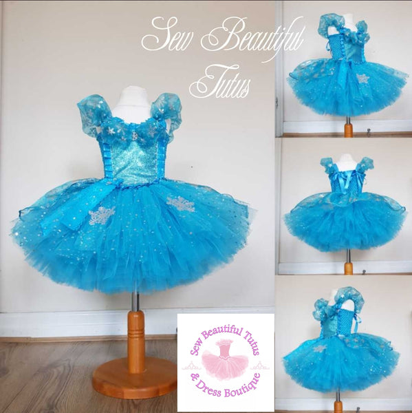 Snow Queen Sparkle Tutu Dress with organza overlay
