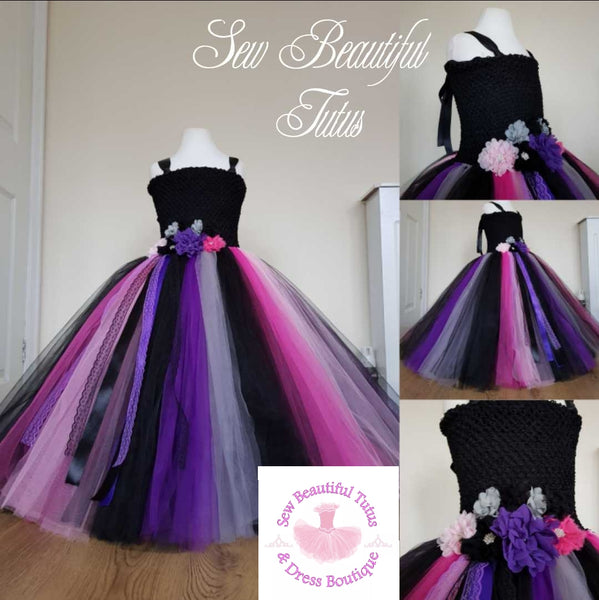 Black, pink, purple Ballgown - Plain Tulle