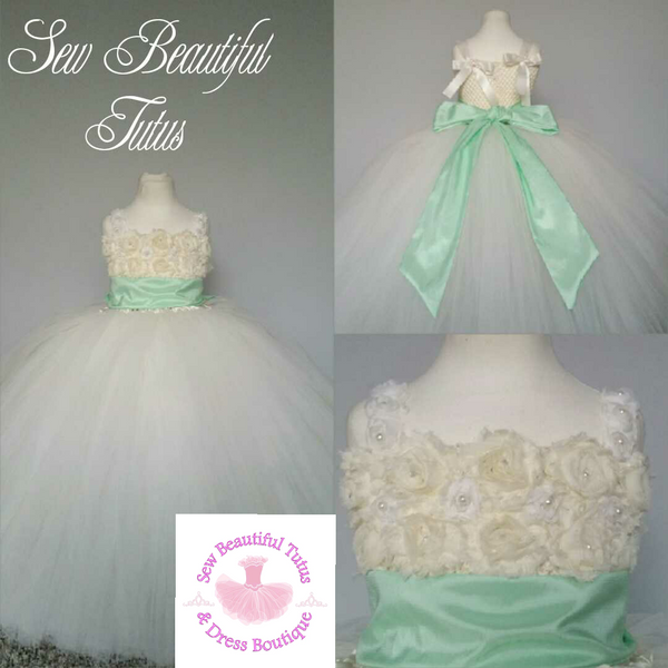 Ivory Flower Girl Dress with Mint Sash (5 layer)- Plain Tulle