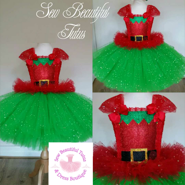Elf inspired Sparkle Tutu Dress
