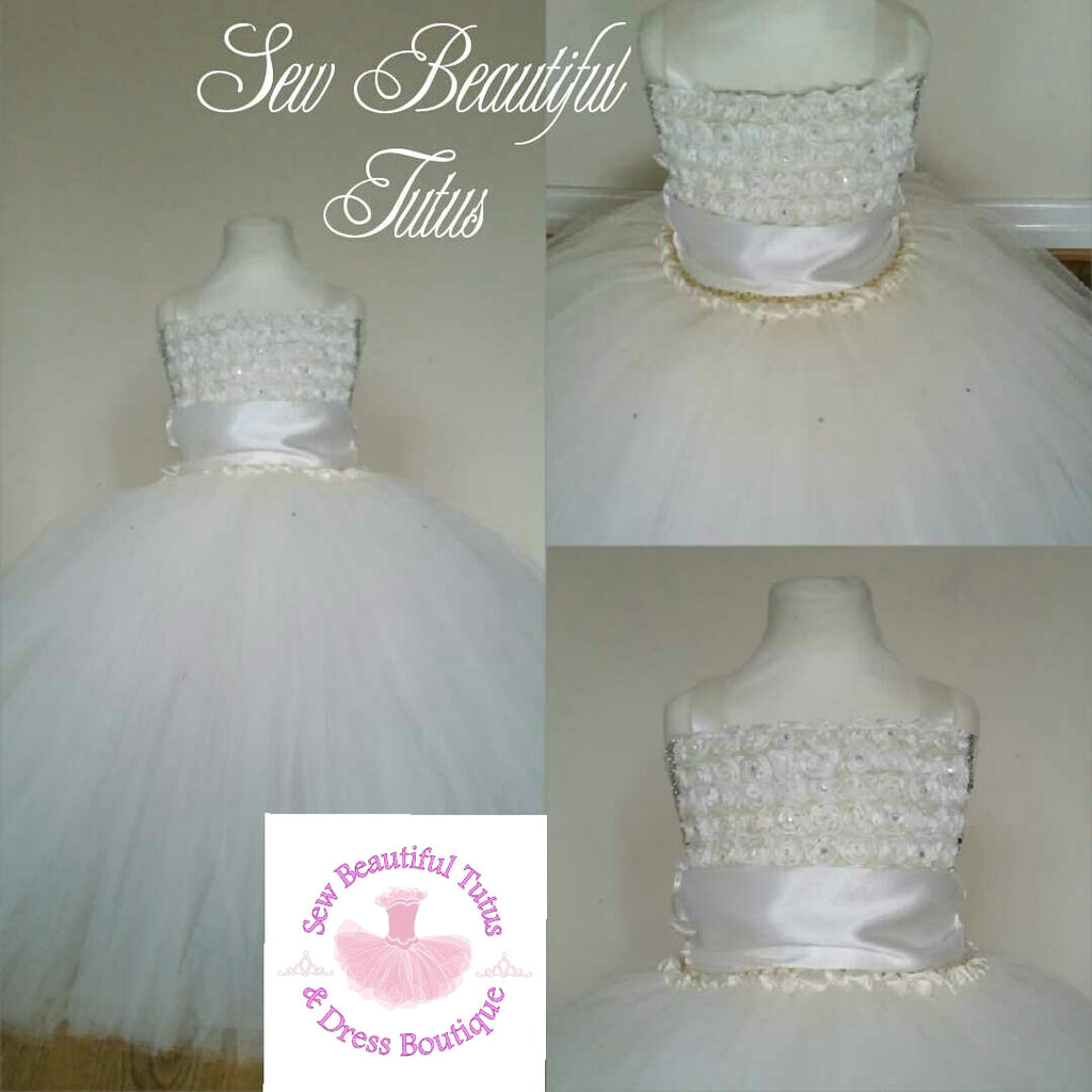 Ivory Flower Girl Dress with Sash - Plain Tulle