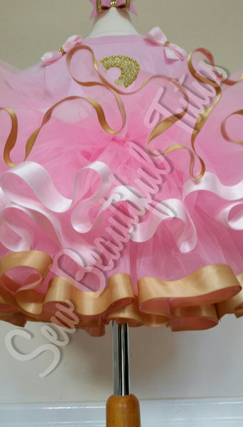 Pink & Gold birthday ribbon trimmed tutu skirt with t-shirt