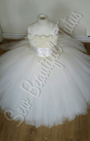 Ivory Flower Girl Dress with Ivory Sash (5 layer)- Plain Tulle