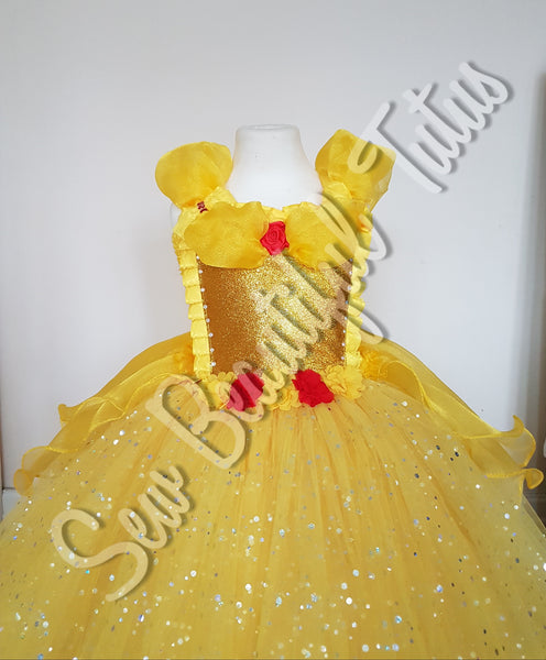 Belle inspired Sparkle Ballgown with organza overlay (red rose)