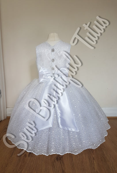 White sparkle satin & lace tulle Flower Girl Dress