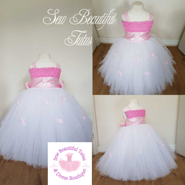 White Flower Girl Dress with Pink Sash - Plain Tulle