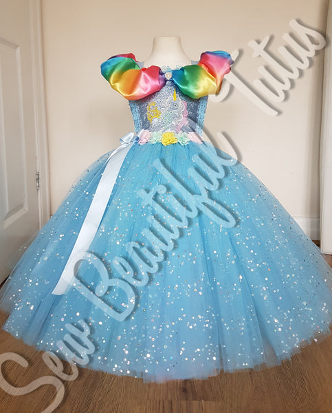 Available Now - Rainbows & Unicorn Sparkle Ballgown Age 5yrs