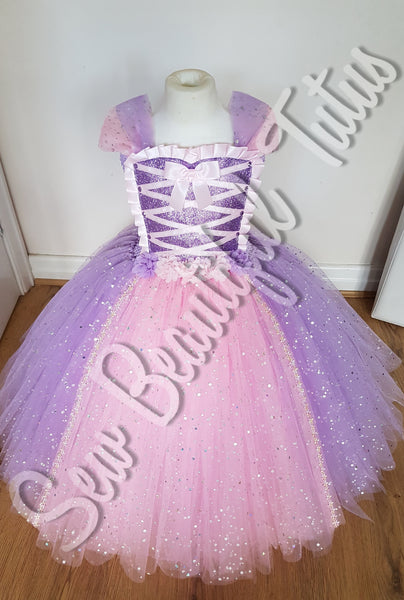 Rapunzel inspired Sparkle Ballgown (flower trim)