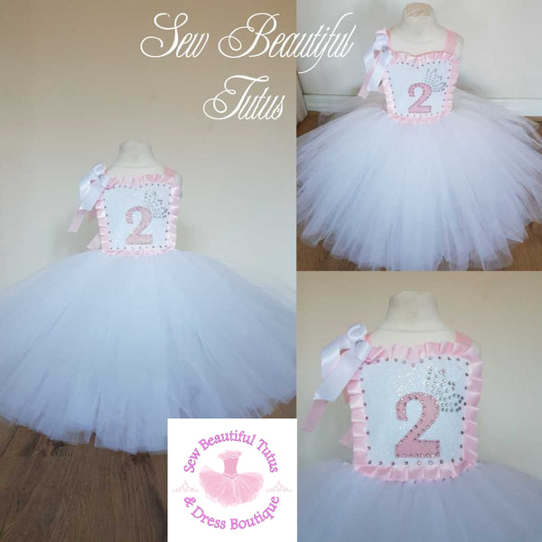 White & Pink Birthday Ballgown - Plain Tulle