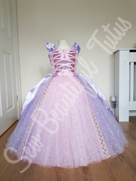 Rapunzel inspired Sparkle Ballgown with Satin Overlay