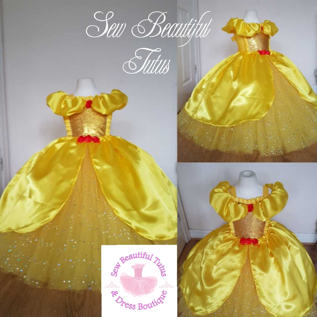 Belle inspired Sparkle Ballgown with satin overlay (red rose) – Sew ...