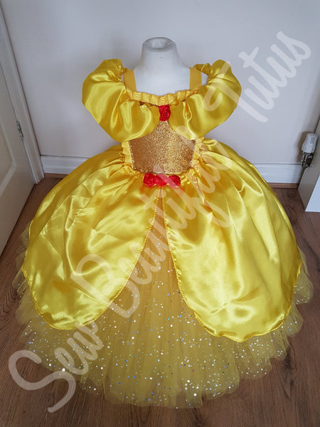 Belle inspired Sparkle Ballgown with satin overlay (red rose)