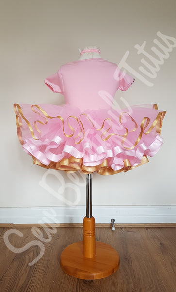 Pink & Gold Ribbon Trimmed 1st Birthday Tutu Skirt and Vest