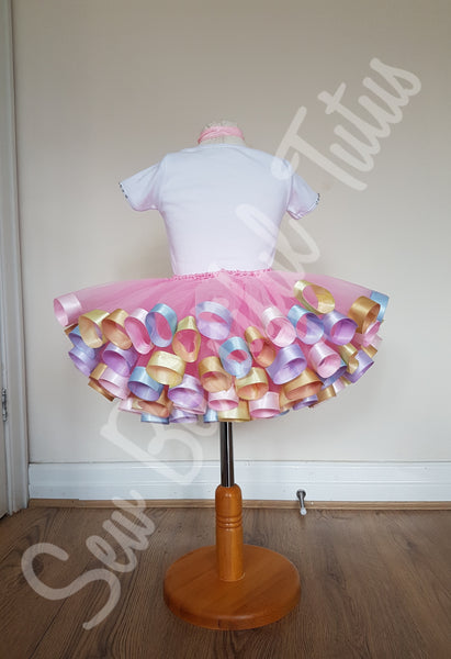 Unicorn Ribbon Trimmed Tutu Skirt and Vest