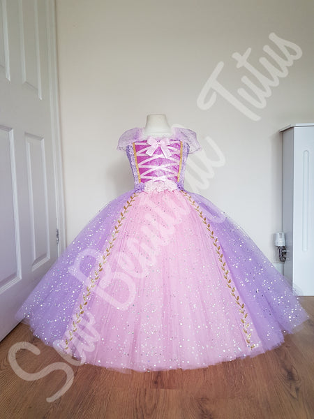 Rapunzel inspired Sparkle Ballgown (gold leaf trim)