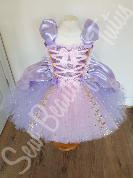 Rapunzel inspired Sparkle Tutu Dress with satin overlay