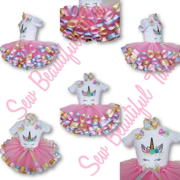 Available Now - Unicorn Ribbon Trimmed Tutu Skirt and Vest Age 12-18mth