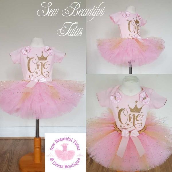 Pink & Gold 'One' Tutu Skirt and Vest