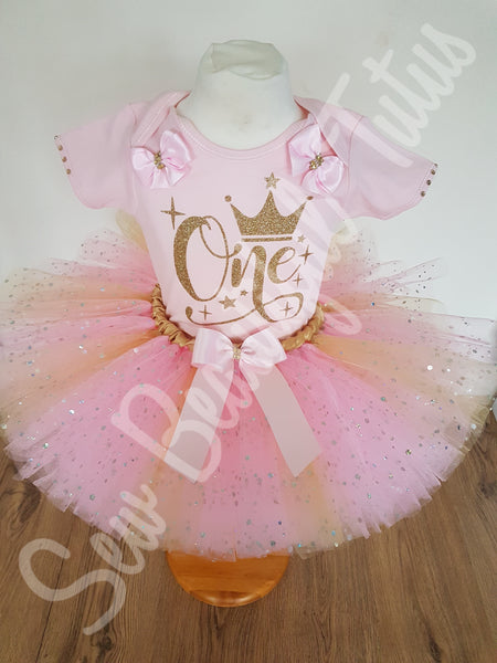 Available Now - Pink & Gold 'One' Tutu Skirt and Vest Age 12-18mth