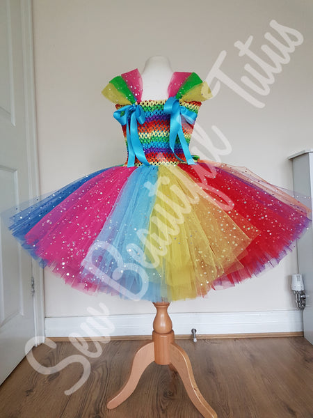 Available Now - Rainbow & Unicorns Sparkle Tutu Dress Age 5-6yrs