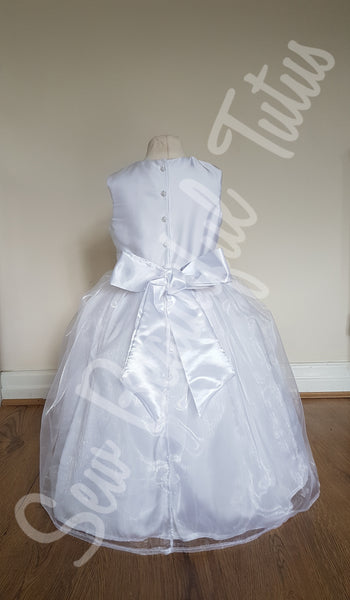 White Satin & Organza Flower Girl Dress