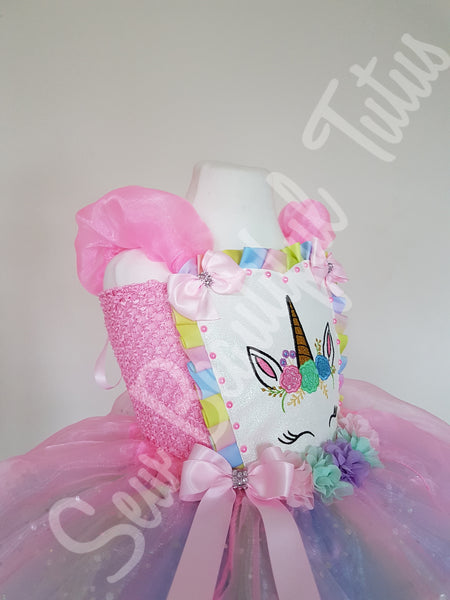 Available Now - Pink/pastel Unicorn Sparkle Tutu Dress with Organza Over Skirt Age 4-5yrs