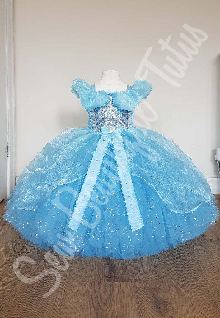 Belle inspired Sparkle Tulle Ball Gown Girl with organza overlay age 1-11yrs