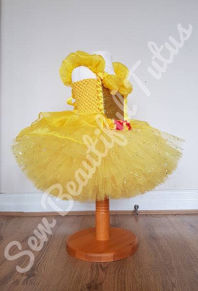 Belle inspired Sparkle Tutu Dress with organza overlay