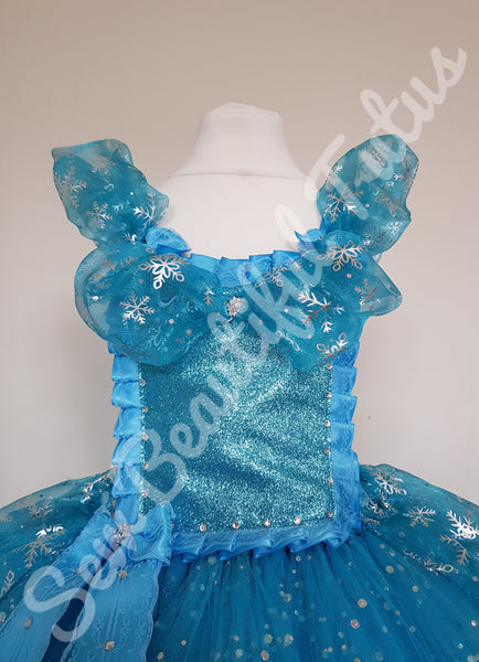 Snow Queen inspired Sparkle Ballgown with snowflake organza overlay