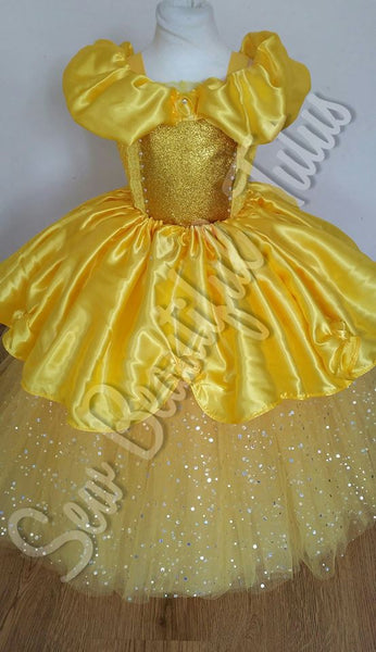 Belle inspired Sparkle Ballgown with satin over skirt (yellow rose)