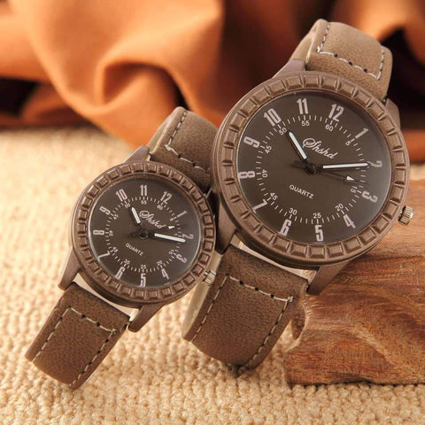 Montre simili cuir double - Lovers couple