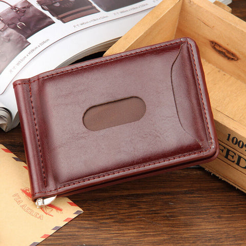 Mini Men's leather money clip wallet with coin pocket card slots