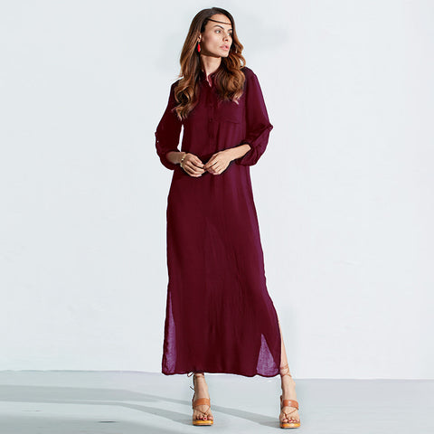 Sexy Casual Dress Long Sleeve Deep V Neck