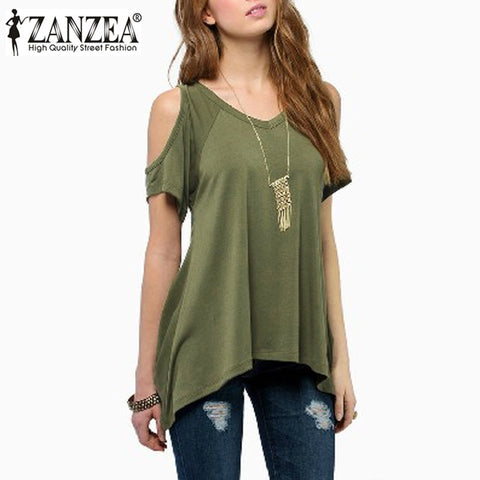 Women Casual Loose Tops Off Shoulder Shirts