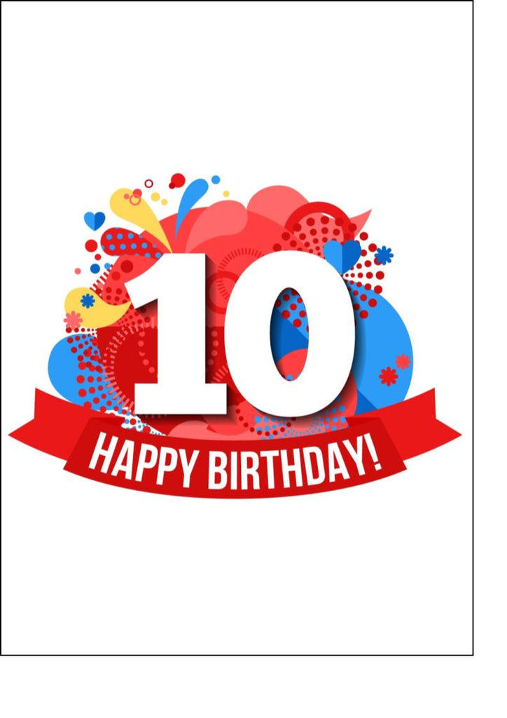 Happy 10th Birthday - Bright - Edible cake/cupcake toppers