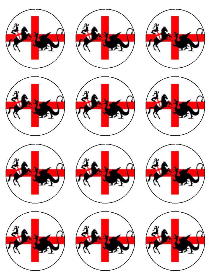 St George's Day & The Dragon Edible Cake & Cupcake Toppers