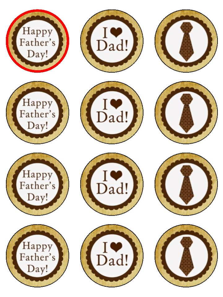 Father's Day Mix Edible Cake & Cupcake Toppers