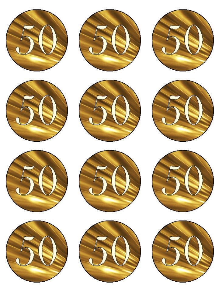 Golden 50th Wedding Anniversary Edible Cake Cupcake Toppers