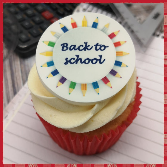 Back to school - design 6 - edible cake/cupcake toppers