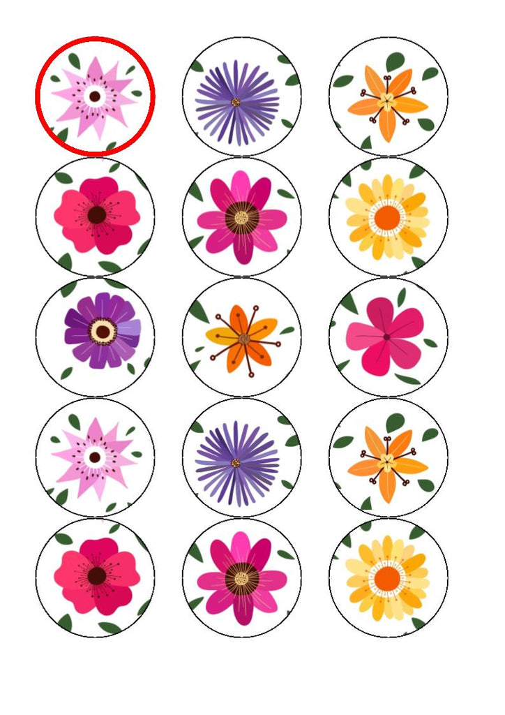 Flower (bright) edible cake/cupcake toppers