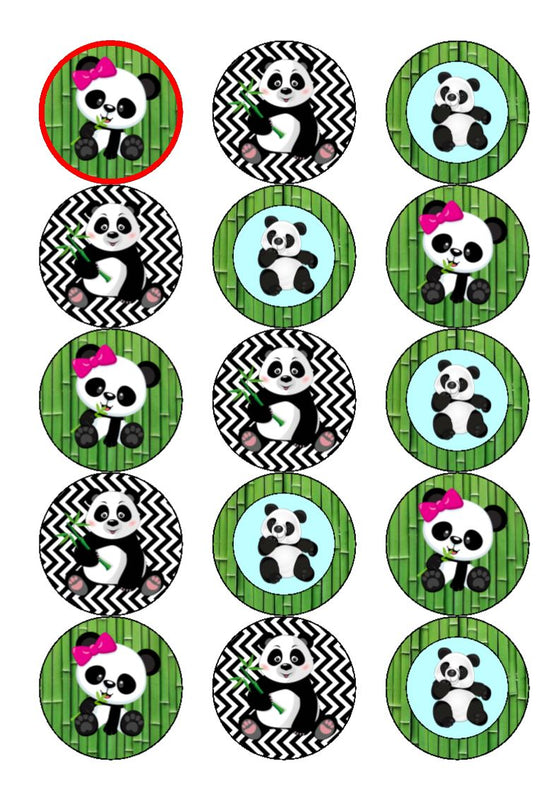 Cute Pandas - edible cake/cupcake toppers