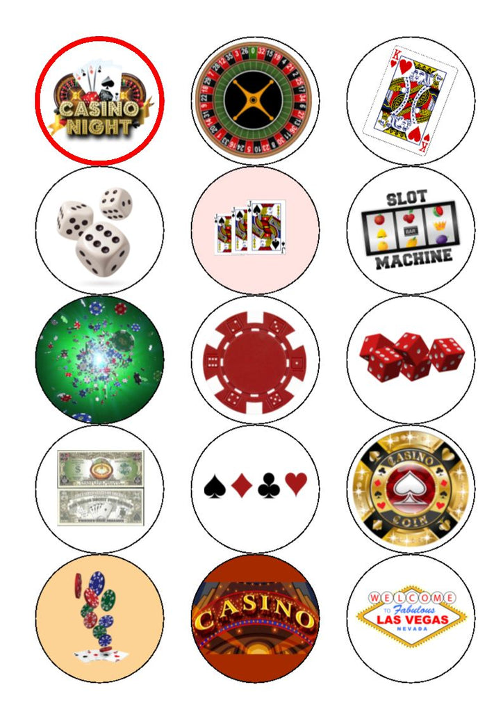 Edible Casino - mix 2 - Cake/Cupcake Toppers