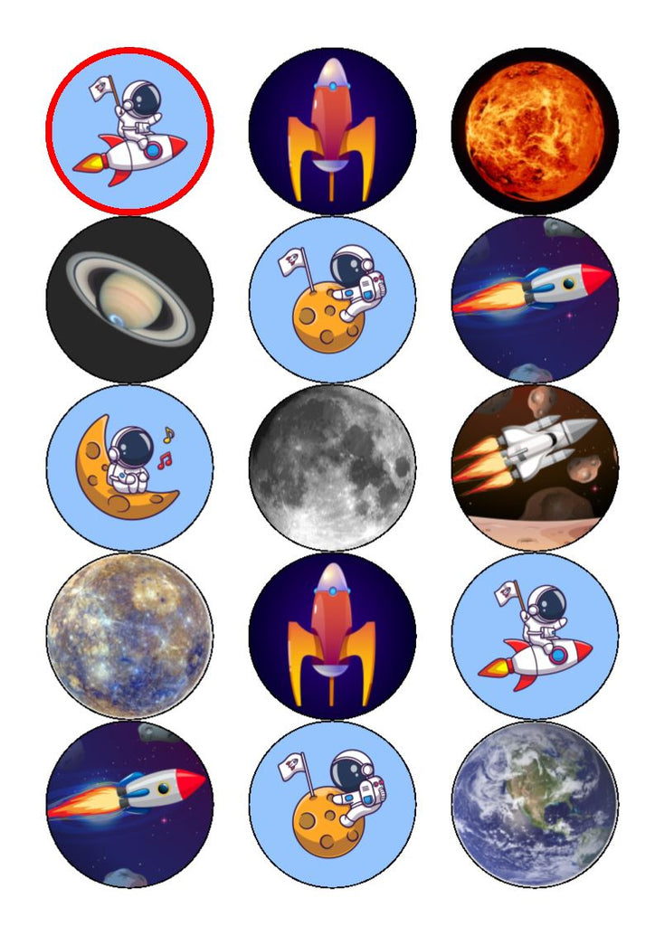 Astronauts and space - edible cake/cupcake toppers
