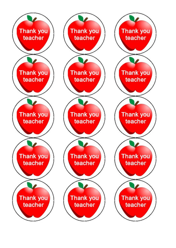 Thank You Teacher Apple Edible Cupcake Toppers