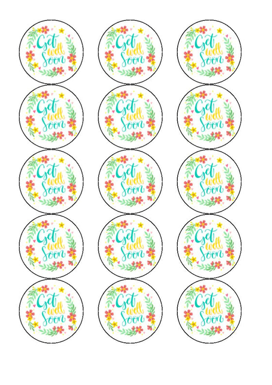 Get Well Soon - Design 7 - Edible Cake/Cupcake Toppers