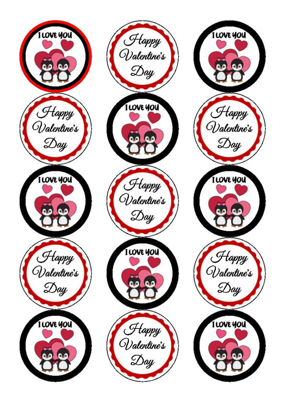 NEW!!  Penguin I love you - cupcake toppers (3 different images per sheet)